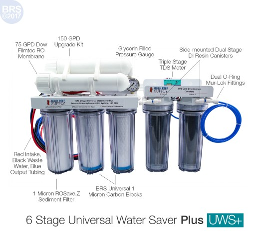 BRS 6 Stage Universal Water Saver Plus RO/DI System - 150GPD (RO/DI)