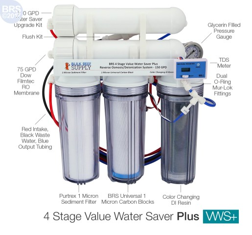 BRS 4 Stage Value Water Saver Plus RO/DI System - 150GPD (RO/DI)