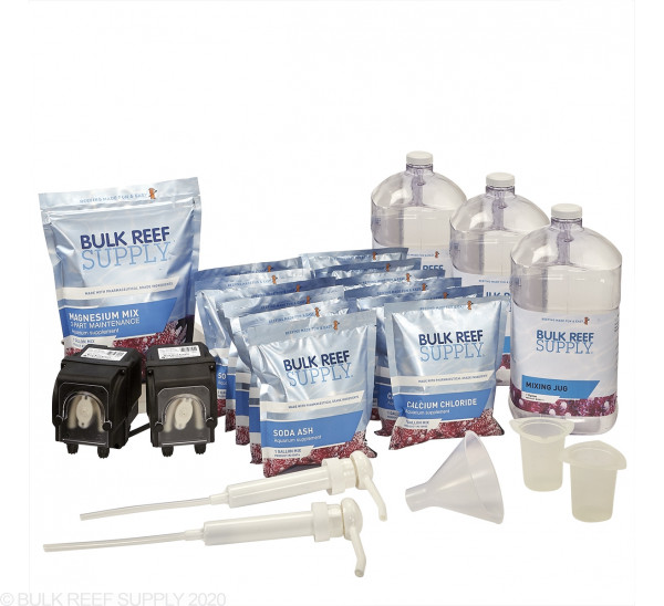2-Part Pharma Calcium & Alkalinity Total Package Pre-Portioned with Two BRS 1.1mL Dosing Pumps