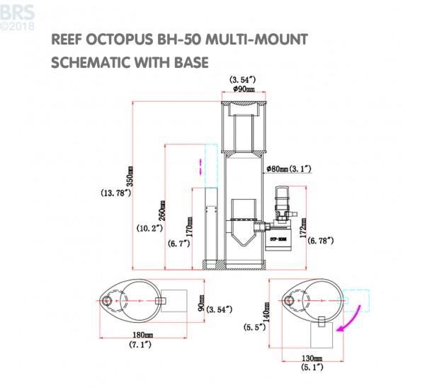 Reef Octopus BH50 Multi-Mount Protein Skimmer Side