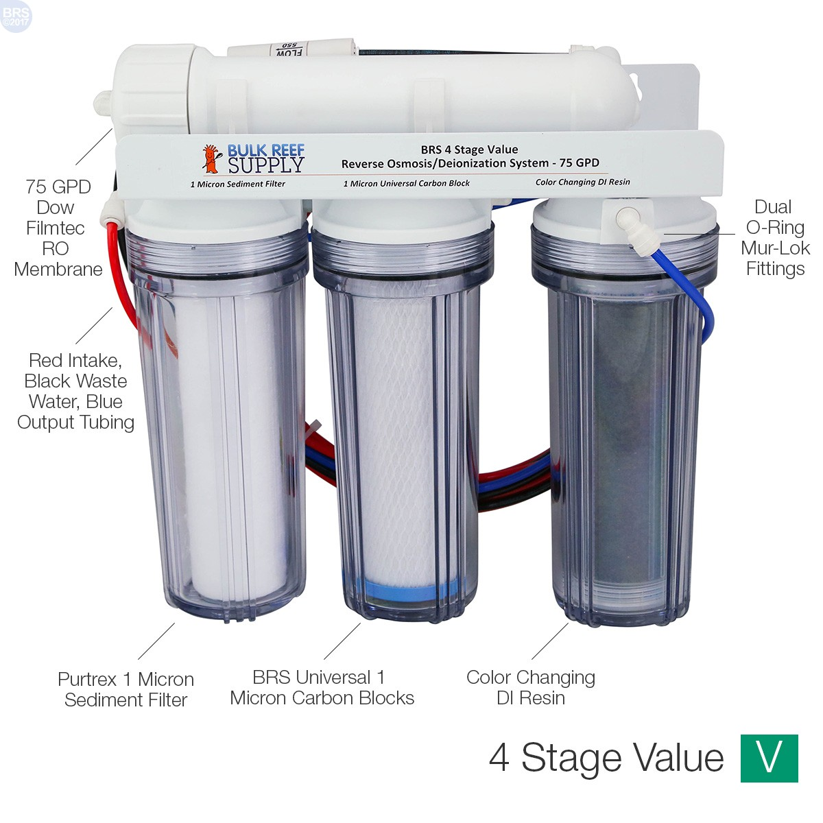 BRS 4 Stage Value RO/DI System - 75GPD - Bulk Reef Supply
