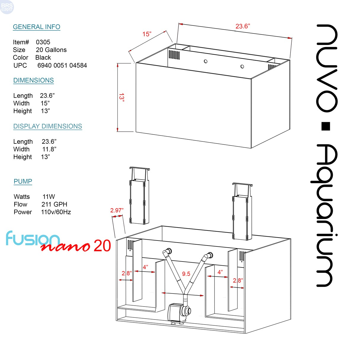 20 nuvo fusion aquarium  tank only  - innovative marine