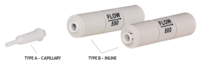 In-line and capillary flow restrictors